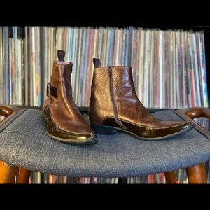 John Fluevog Brown Dual Leather Boots